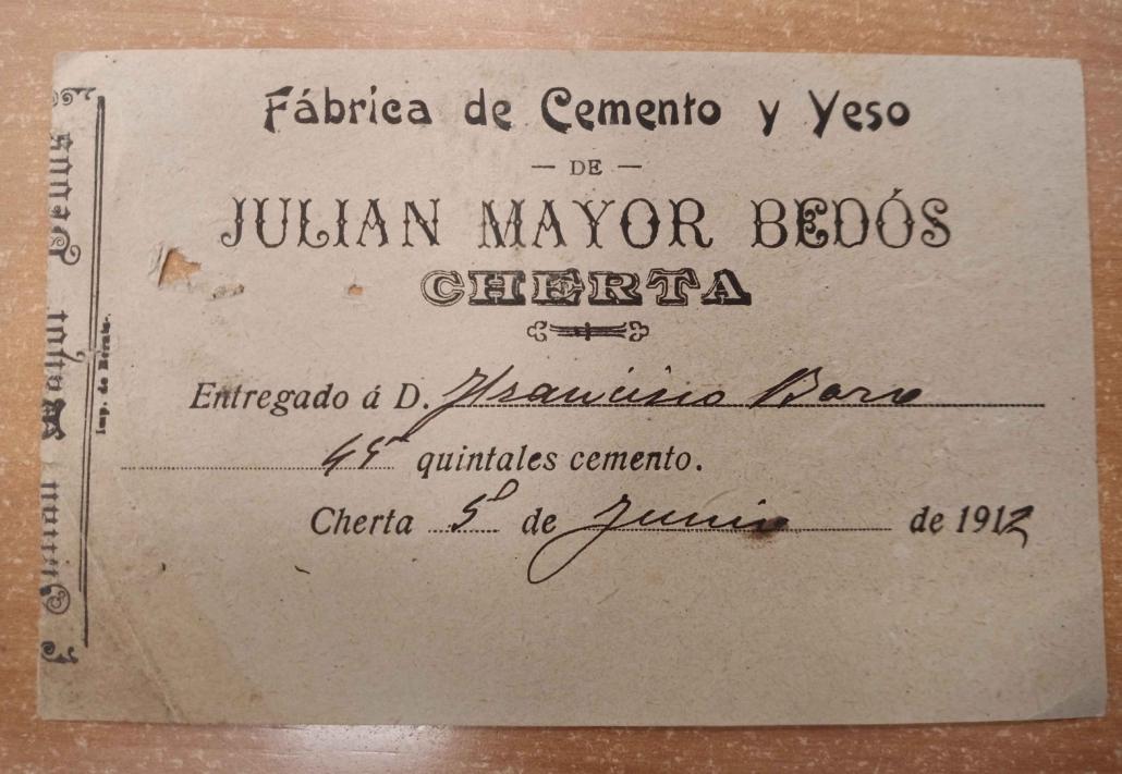 Document fabrica ciment 1912